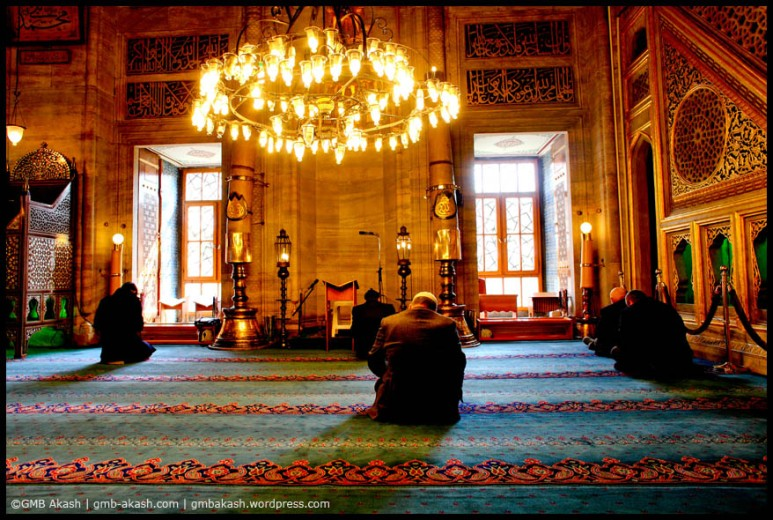 Muslims are praying inside Mosques of Istanbul, Turkey.